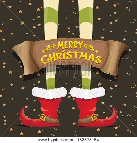 vector creative merry christmas greeting card with cartoon elfs legs, old vintage paper ribbon or banner and greeting handdrawn calligraphic text Merry christmas. Vector merry christmas background