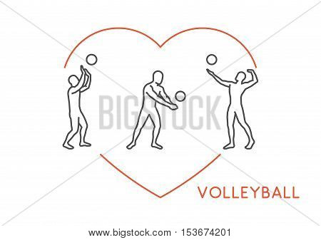 Line vector logo for volleyball. Open path. Outline figure volleyball player.
