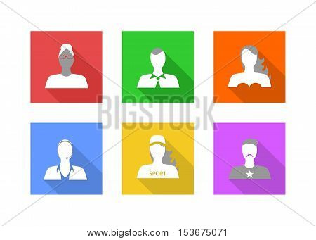 Illustration in style of a flat design with a set of portraits of people.