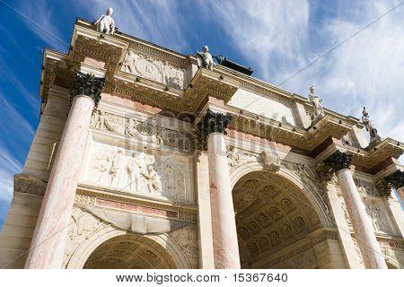 Triumphal arch wide angle view. Paris.
