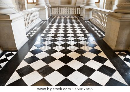 Chequer floor in museum. Wide angle view.