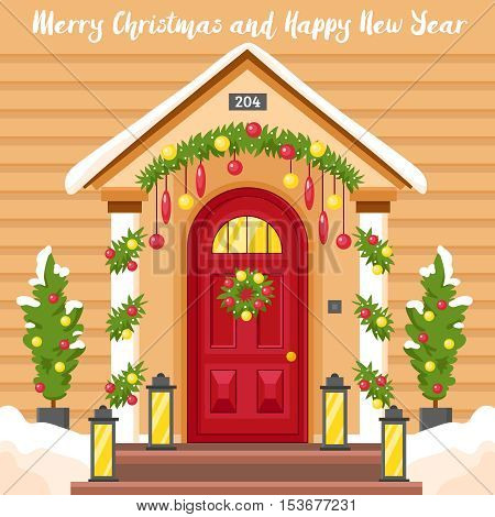 New year card with front house door decorated by lanterns holly wreath and christmas trees flat vector illustration