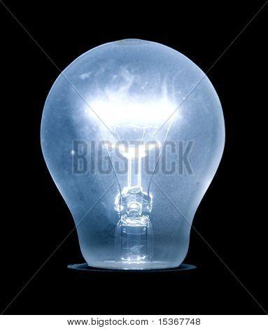 Brilhante lâmpada elétrica. Cor azul. Isoladas em preto.