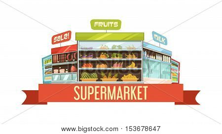 Supermarket display stand retro composition poster with dairy products and fruits shelves racks cartoon vector illustration