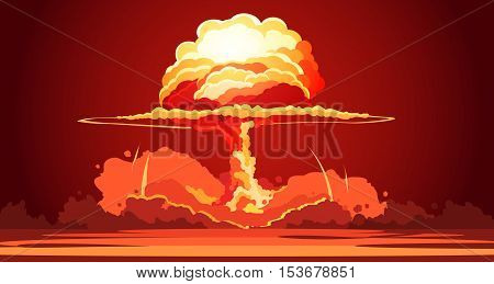 Nuclear explosion rising orange fireball of atomic mushroom cloud in desert weapon test retro cartoon poster vector illustration