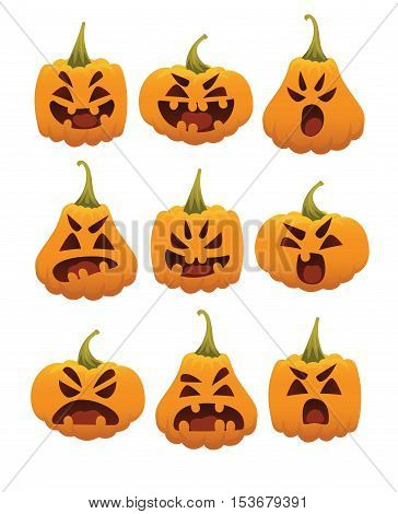 Funny Smiling Halloween Pumpkins. Set of emotional pumpkin faces. Halloween pumpkin heads in different forms in flat style isolated on a white background for your design, prints and greeting cards.
