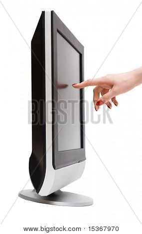 Woman hand touching tv screen. Isolated on white.