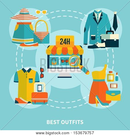 Shopping online composition with wear colorful clothes icons computer screen full-time web store search flat vector illustration