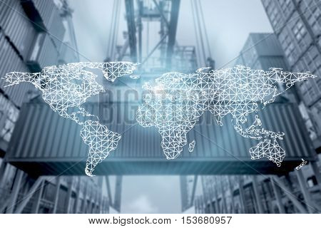 Network connection partnership logistics and world map with port in background.Network connection logistics technology concept (Elements of this image furnished by NASA)