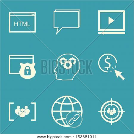 Set Of Seo Icons On Ppc, Focus Group And Brain Process Topics. Editable Vector Illustration. Include