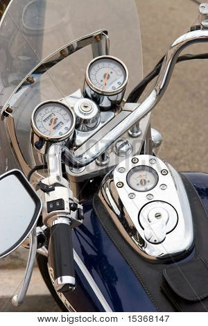Motorcycle closeup view. Chrome parts.