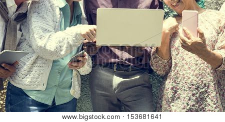 Senior Friends Relax Lifestyle Using Digital Device Concept