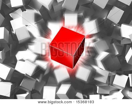Red cube and quantity of grey cubes. One and others.