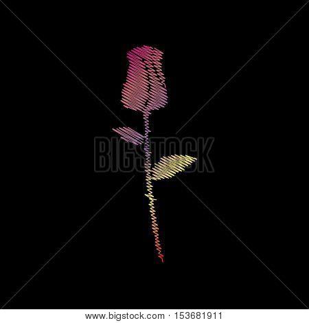 Rose sign illustration. Coloful chalk effect on black backgound.