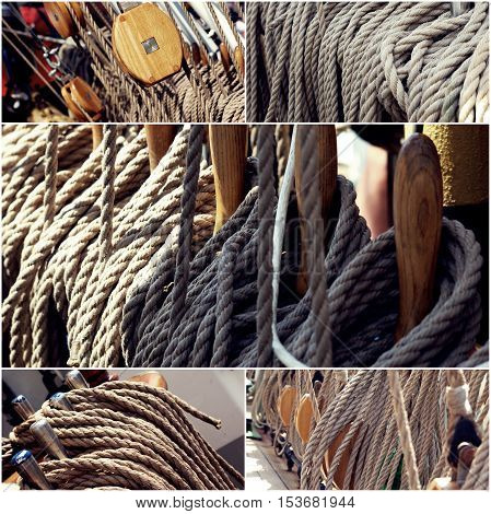 Sailing boat winches and ropes collage of toned photos.