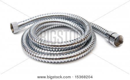 Modern chrome hose isolated on white.