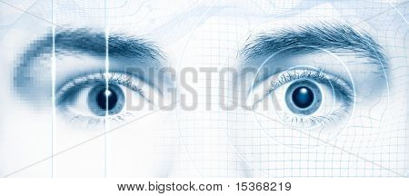 Human eyes. Digital hi-tech style. Blue tint.