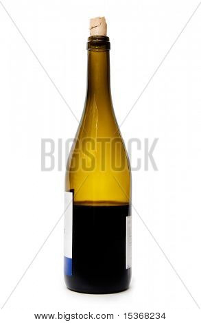 Bottle with wine. Isolated on white.