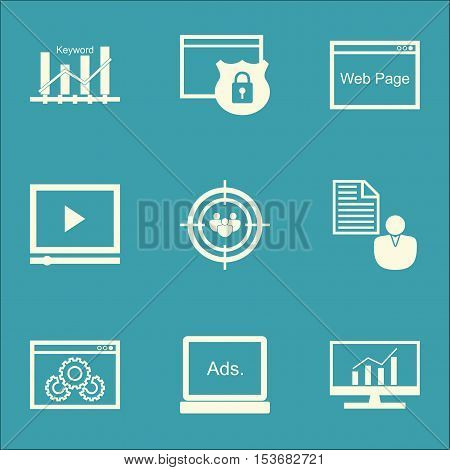 Set Of Seo Icons On Website Performance, Digital Media And Security Topics. Editable Vector Illustra