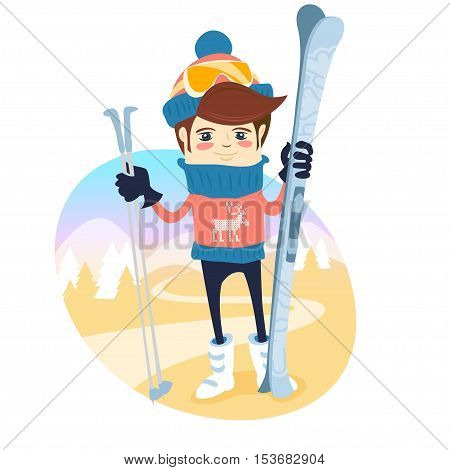Funny Skier Standing In Front Of Slopes With His Ski And Poles Wearing Knitted Hat And Sweater With