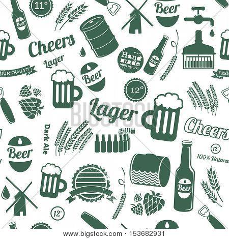Beer seamless pattern. Beer illustrations on white background vector illustration.