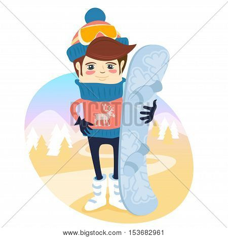 Funny Skier Standing In Front Of Slopes With His Snowboard Wearing Knitted Hat And Sweater With Deer