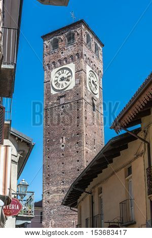 Grugliasco,Turin,Italy,Europe - August 23, 2016 : View of the Civic Tower in the old town