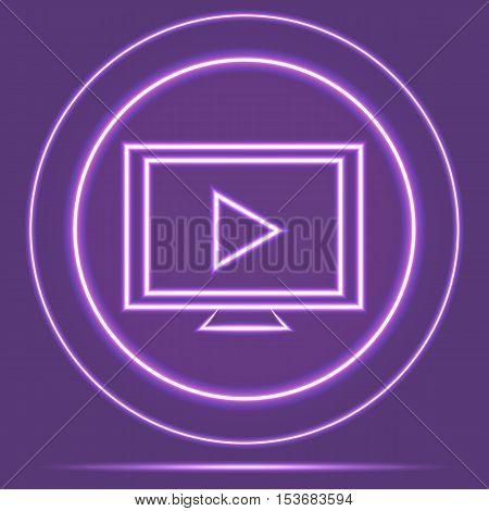Futuristic Neon Glowing Monitor Icon Sensor style. Vector EPS 10