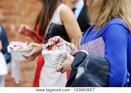 Women Hang Holding Rose Petals