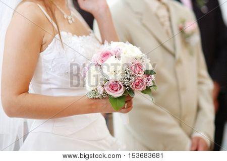 Bride Holding Bride Bouquet