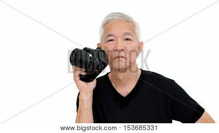 Asian Senior Man Start On Photography As Hobby On Free Time