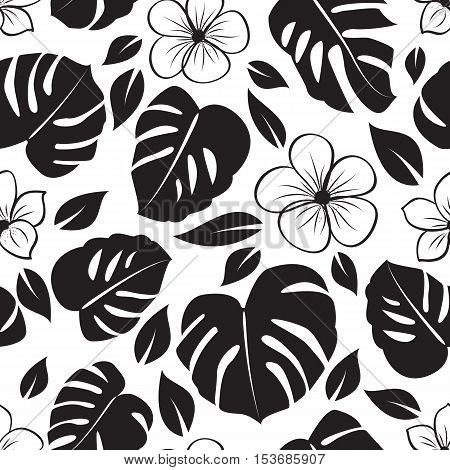 Classical hawaiian motives: monstera and palm leaves. Seamless background.