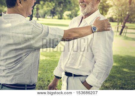 Senior Friends Retirement Talking Laughing Concept