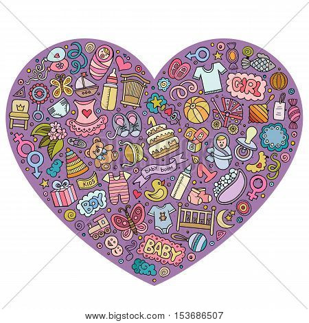 Colorful vector hand drawn set of Baby cartoon doodle objects, symbols and items. Heart form composition