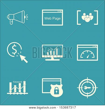 Set Of Marketing Icons On Media Campaign, Loading Speed And Keyword Marketing Topics. Editable Vecto