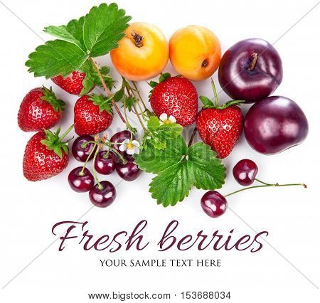 Fresh berries and fruits in still life with green leaves strawberry. Apricot. Cherry. Plum copyspace isolated on white background