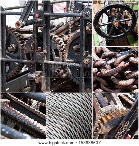 Rusty machinery, chains, steel wire rope collage of photos. Vintage color tone.
