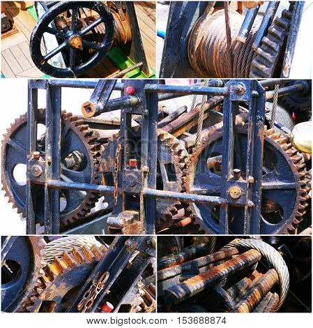 Old rusty gears machine collage of photo.