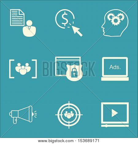 Set Of Marketing Icons On Digital Media, Security And Report Topics. Editable Vector Illustration. I