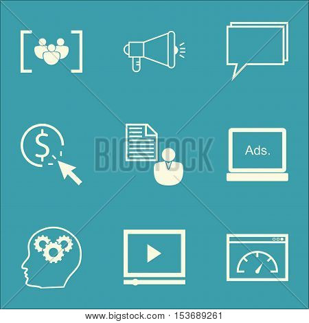 Set Of Marketing Icons On Video Player, Questionnaire And Brain Process Topics. Editable Vector Illu