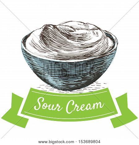 Sour cream colorful illustration. Vector illustration of breakfast.
