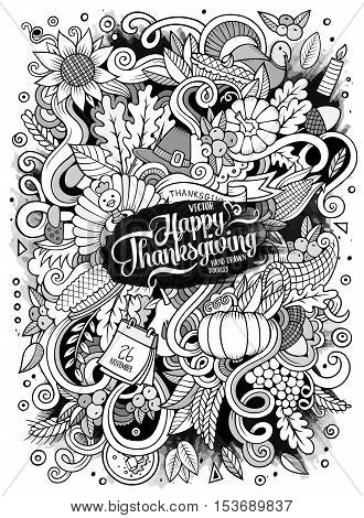 Cartoon cute doodles hand drawn Thanksgiving illustration. Sketchy detailed, with lots of objects background. Funny vector artwork