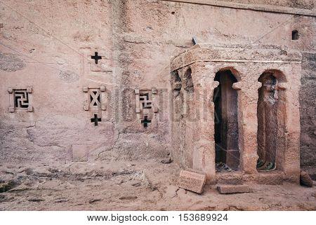 famous ancient ethiopian orthodox christian rock hewn churches of lalibela ethiopia
