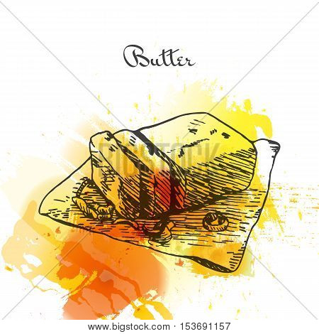Butter colorful watercolor effect illustration. Vector illustration of breakfast.