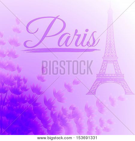 Paris Eiffel tower on a gentle purple background with lavender flowers