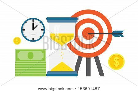 Business work planning and timing, Strategy, Flat design concept with target and arrow