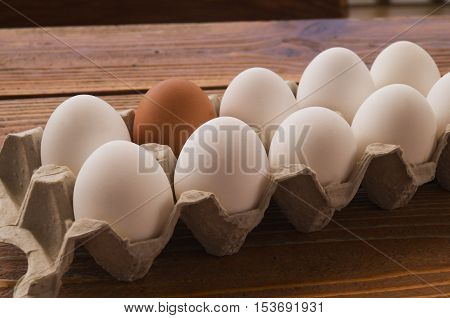 White and brown hen's eggs in an opened box with natural light.