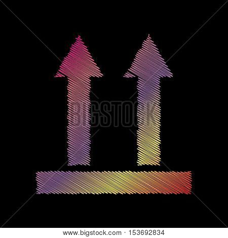 Logistic sign of arrows. Coloful chalk effect on black backgound.