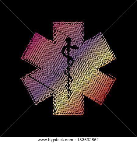 Medical symbol of the Emergency or Star of Life. Coloful chalk effect on black backgound.