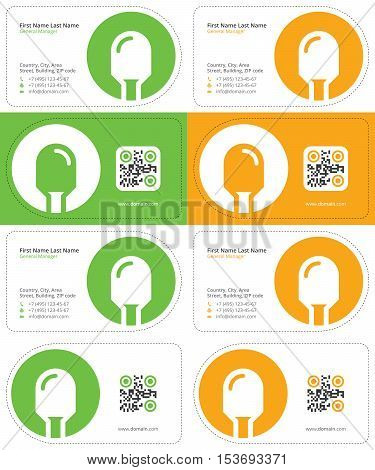 led business cards with a qr code, die cut cards, green and yellow colors
